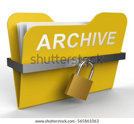 Archive Folder With Padlock Represents Files Collection 3d Rendering