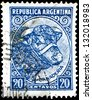 "ARGENTINA - CIRCA 1936: a stamp printed in Argentina shows Bull, Cattle Breeding, with the same inscription, from the series ""Production and Industry"", circa 1936 - stock photo"