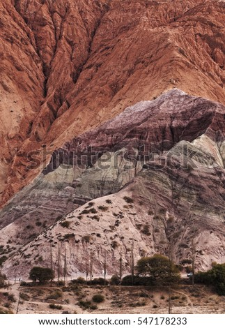 Argentina, Jujuy Province, Purmamarca, Elevated view of the Hill of Seven Colours(Cerro de los Siete Colores).