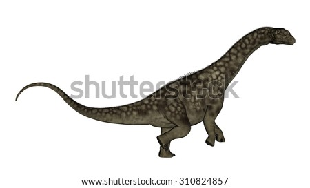 Argentinosaurus dinosaur standing up isolated in white background - 3D render