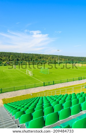 ARLAMOW HOTEL, POLAND - AUG 3, 2014: Football field on sunny summer day in luxury Arlamow hotel, Bieszczady Mountains, Poland. Legia Warsaw has its trainings here, most famous club in Poland.