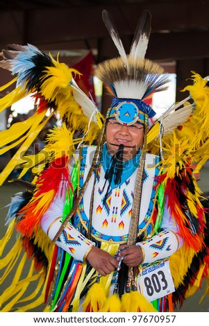 ARLEE, MONTANA - JULY 3: Native American performs tribal dances at the 113th Annual Arlee Celebration Powwow. July 3, 2011 in Arlee, Montana