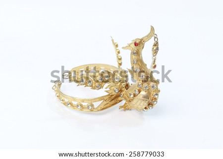Armbands and Thailand jewelry, antique white background.