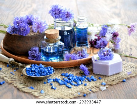 Aroma  spa set over wooden background
