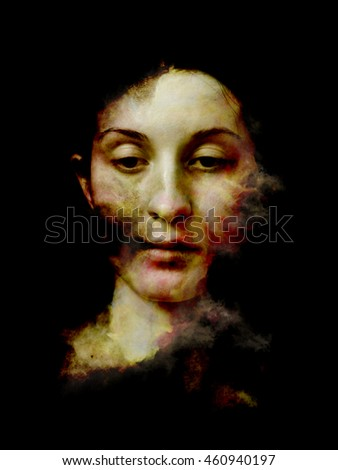 Arrangement of fractal smoke and female portrait on the subject of spirituality, imagination and art