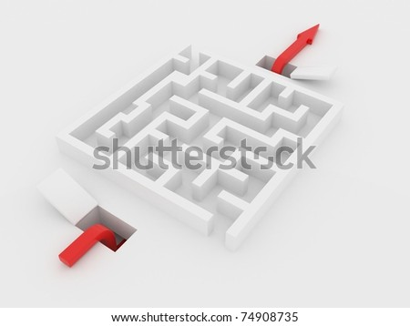 arrow moves under the labyrinth