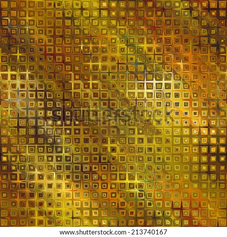 art abstract pixel geometric seamless pattern; background in gold, green and brown colors