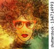art colorful sketching of beautiful girl face in orange glasses with curly red and gold ornamental hair on color background - stock photo
