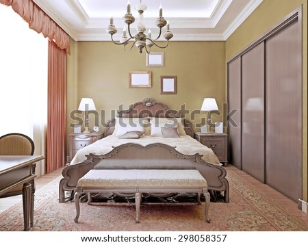Art deco bedroom with ceiling neon lights.Comfortable room with a luxurious bed and a wardrobe.3D render