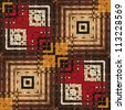 art eastern national traditional geometric pattern in brown and red - stock photo