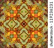 art eastern ornamental traditional pattern in green, gold and orange - stock photo