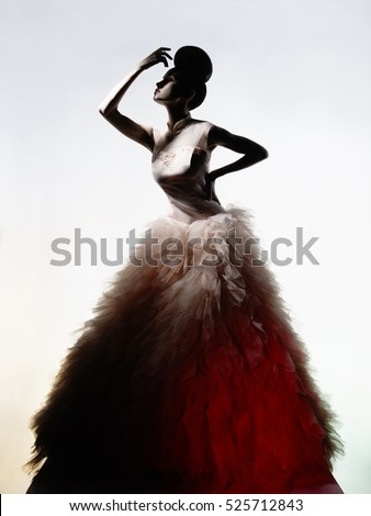 Art fashion studio photo of beautiful elegant woman in luxury evening dress.  Drawing of shadows and light.
