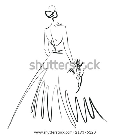 art sketch of beautiful young  bride with the bride's bouquet from behind isolated on white background
