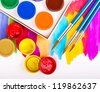 art studio paints on the white with paintings - stock photo