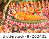 Art thai painting on wall in temple. - stock photo