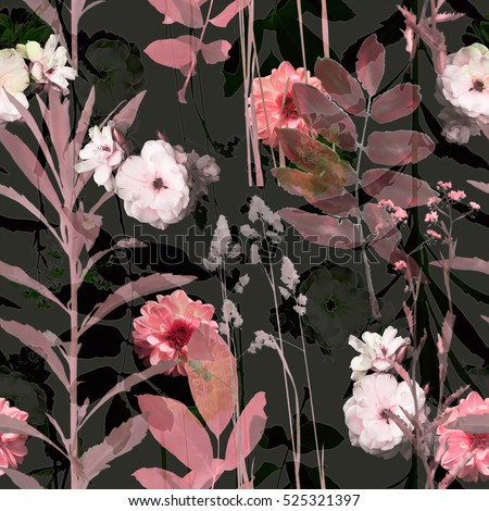art vintage blurred monochrome pink purple watercolor and graphic floral seamless pattern with roses, grasses and leaves on black background. Double Exposure effect