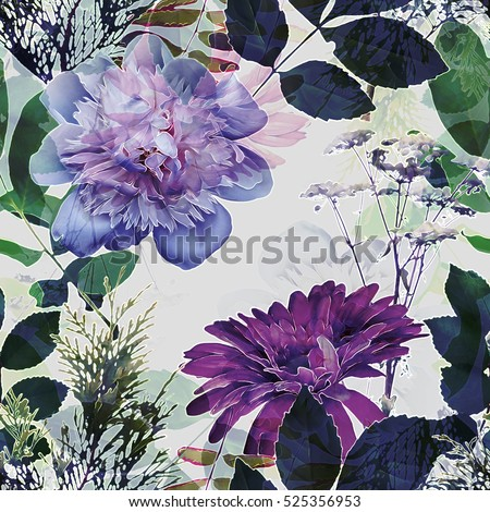 art vintage blurred monochrome violet purple watercolor and graphic floral seamless pattern with peonies, gerbera, grasses and leaves on white background. Double Exposure effect