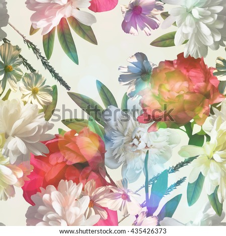 art vintage colored blurred floral seamless pattern with gold yellow, red and white roses, asters and peonies on white background. Bokeh effect