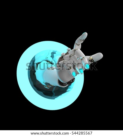 artificial hand passing in a luminous ring, 3d illustration
