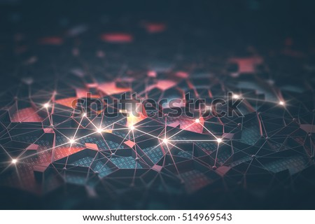 Artificial intelligence, connections and nucleus in concept of interconnected neurons. 3D illustration. Abstract background with binary numbers, neural network and cloud computing.
