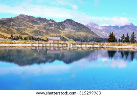 artificial lake in racines Valley  South Tyrol Italy