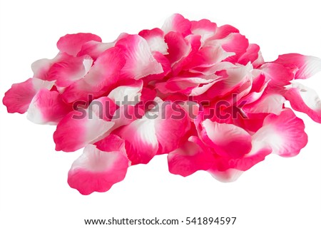 Artificial rose petals isolated on a white background