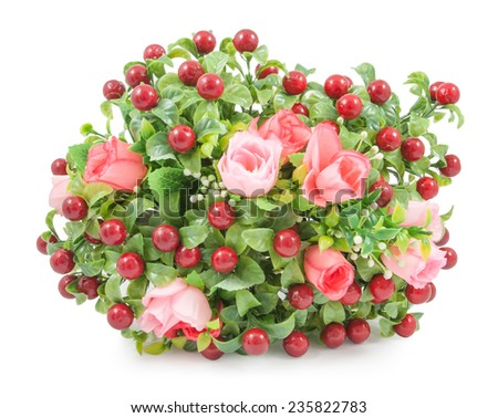Artificial roses Bouquet on white background