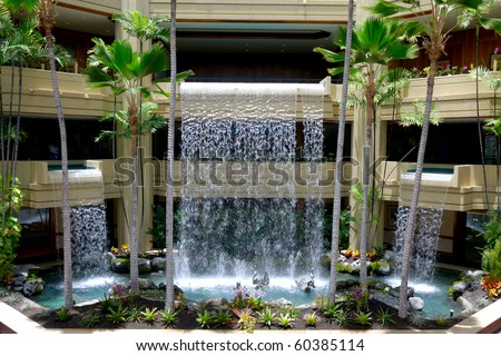 Artificial Waterfall Inside Hotel Stock Photo 60385114