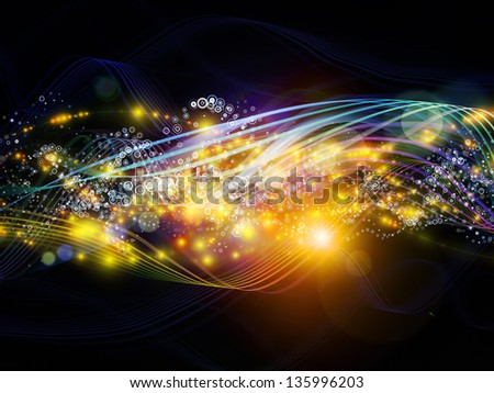 Artistic background made of lights, fractal and custom design elements for use with projects on network, technology and motion
