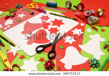 green color red arts craft supplies corrugated color paper stock photo 351226619