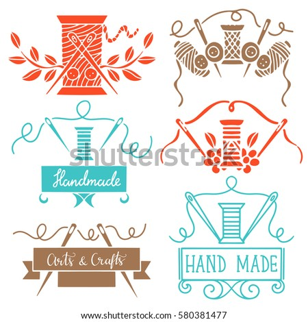 Set vector design elements packages ornate stock vector for Arts and crafts logo