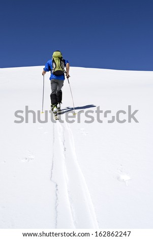 Ascending to the top. Ski mountaineering cross country skiing in Italian Alps