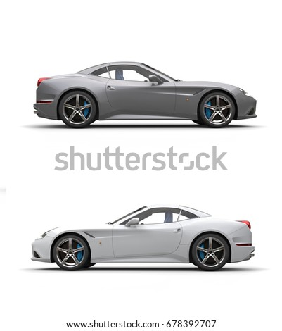 Ash Metallic Gray And Clean White Sport Cars   Side View   3D Illustration