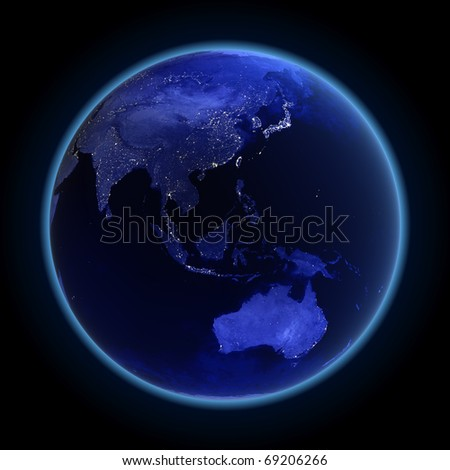 Asia and Australia. Maps from NASA imagery