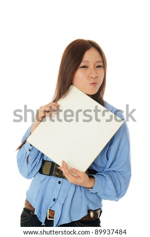 Asia girl acting happy with raw book.