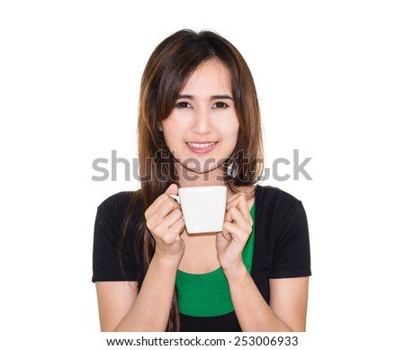 asia Girl holding a coffee cup in hands on white background