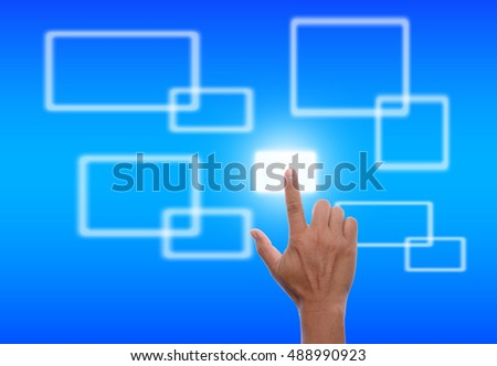 asia man hand touching the flow of several button on blue background