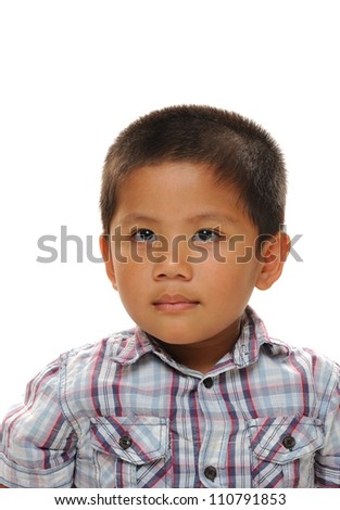 Asian boy wearing fashionable shirt with white background