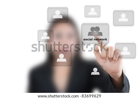 Asian business lady pushing people social network communication.