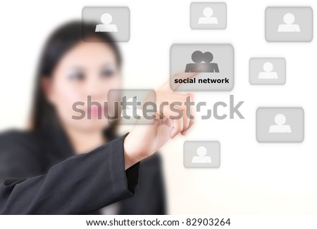 Asian business lady pushing social network on the whiteboard.