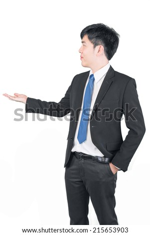 Asian business man presenting over a white background clipping path