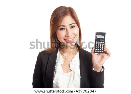 Asian business woman smile with calculator  isolated on white background