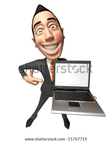 Asian businessman with a laptop