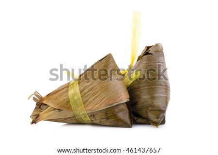 Asian Chinese rice dumplings or zongzi on white background.