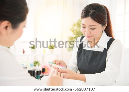 Professional Manicurist Her Client Discussion What Stock ...