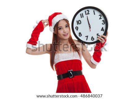Asian Christmas Santa Claus girl  and clock at midnight  isolated on white background.