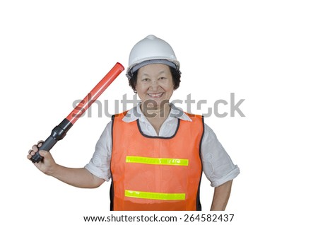 asian elderly contractor on white background