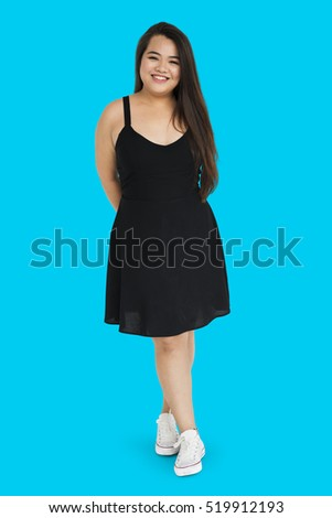 Asian Girl Posing Joyful Pretty Standing Studio Concept