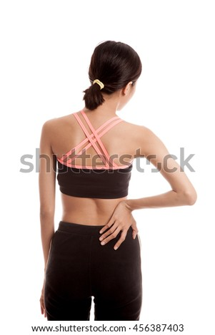 Asian healthy girl got back pain  isolated on white background