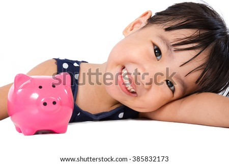 Asian Little Chinese Girl With Piggy Bank  isolated on White Background